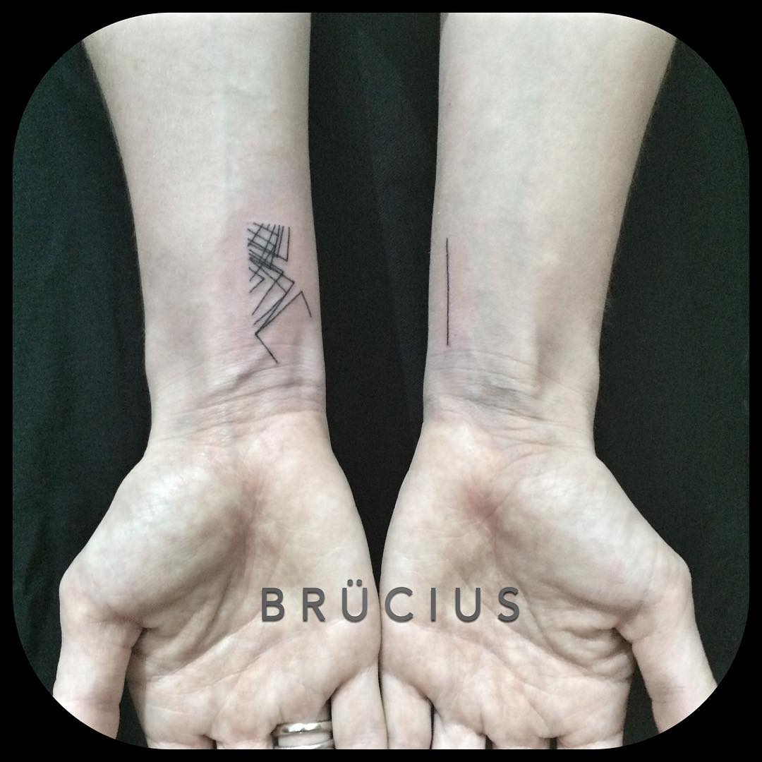 Small Geometry Tattoos on Wrists