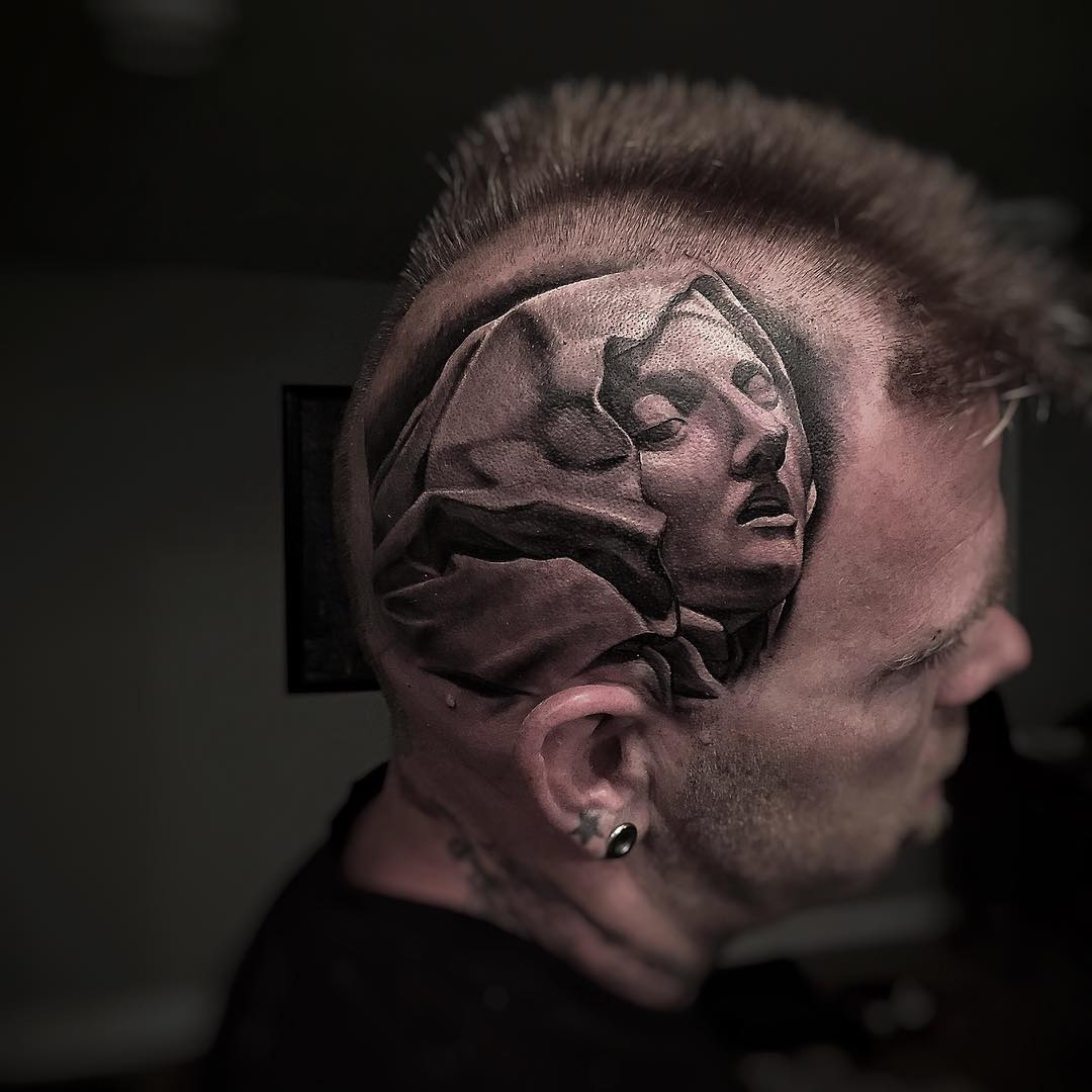 Statue Girl Head Tattoo