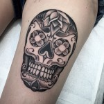 Thigh Chicano Skull Tattoo
