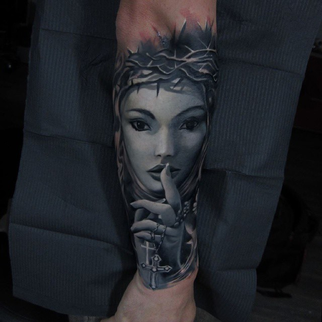 Thorn Nun Tattoo on Arm
