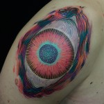 Tripping Eye Tattoo on Shoulder