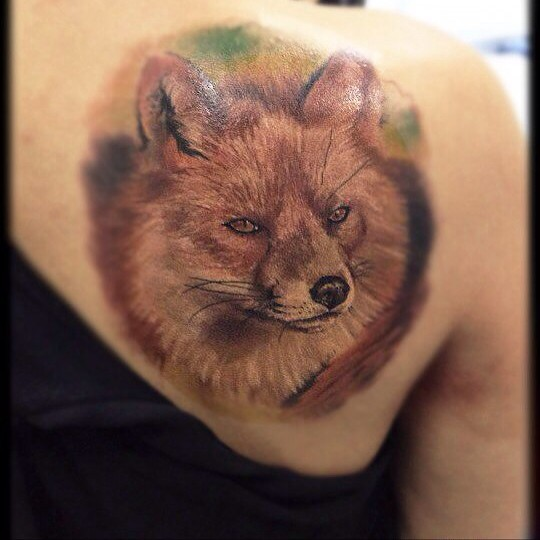 Watercolor Realistic Fox Tattoo