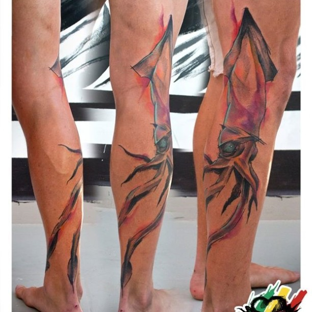 Watercolor Squid Tattoo on Leg