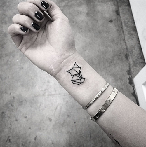 fox cat small tattoo