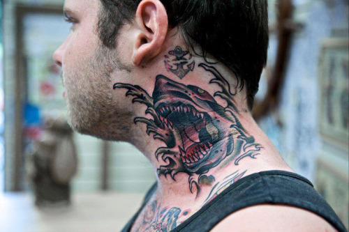 Shark Neck Tattoo