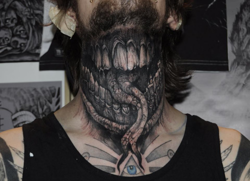 Demon Mouth Neck Tattoo