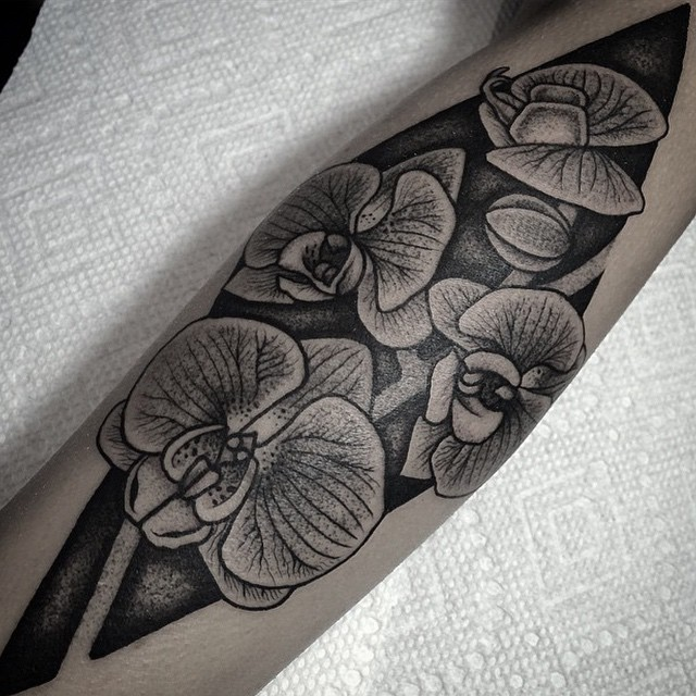 dotwork orchid tattoo