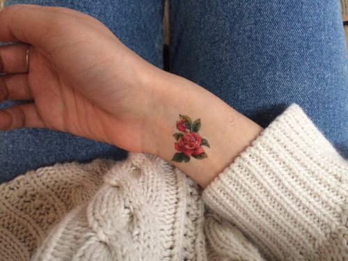 wrist small rose tattoo