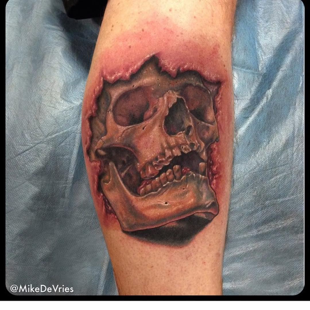 Realistic Skull 3D Arm Tattoo