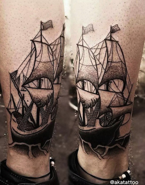 Ankle Ship Tattoo