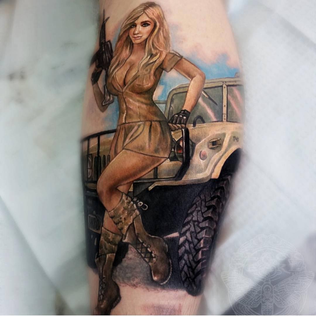 Army Girl Tattoo on Calf