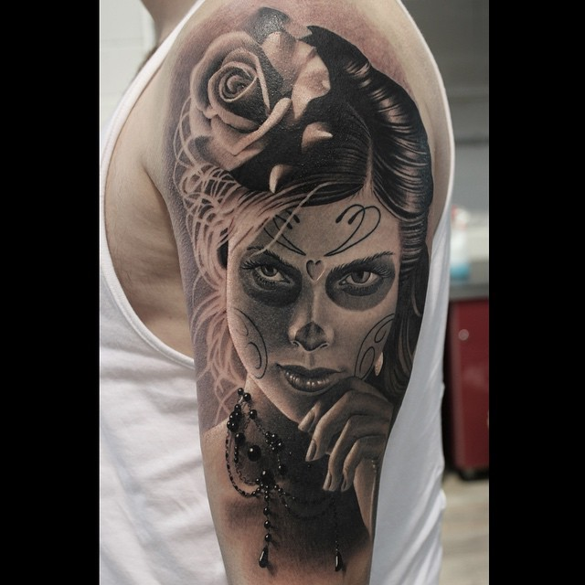 Beautiful Santa Muerte Girl Tattoo on Shoulder