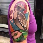 Waxwing Bird Shoulder Tattoo