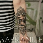 Black and Grey Hourglass Tattoo