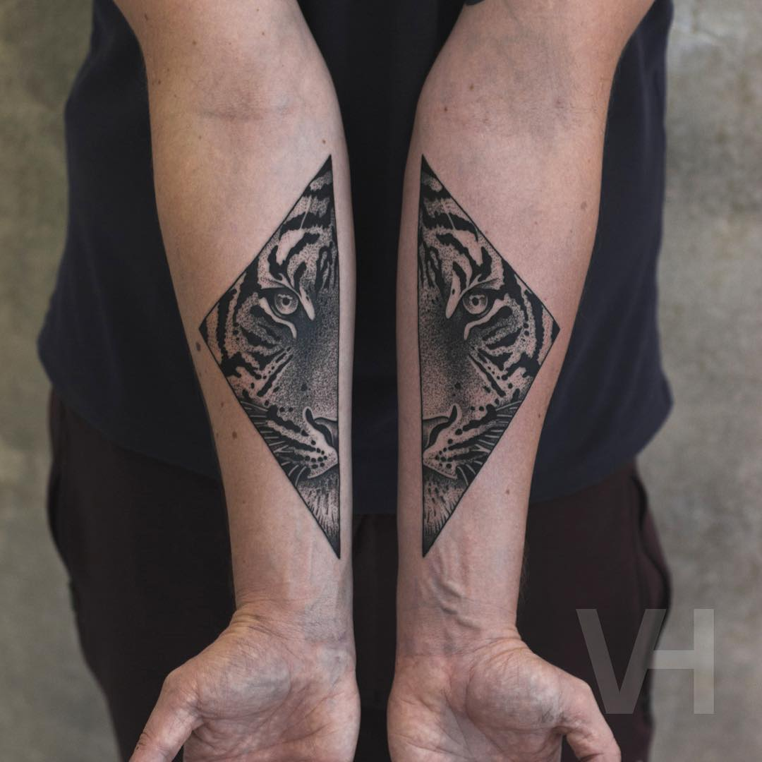Black and Grey Tiger Tattoo