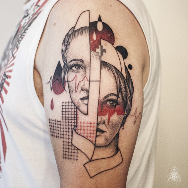 Blood Nurse Tattoo on Shoulder
