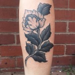 Calf Flower Tattoo