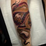 Calf Red Snake Tattoo