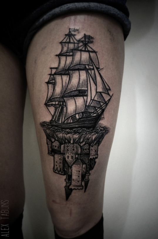 Castle Ship Tattoo