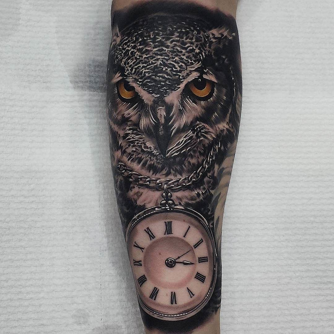 Clock on Chain Owl Tattoo on Forearm Tattoo