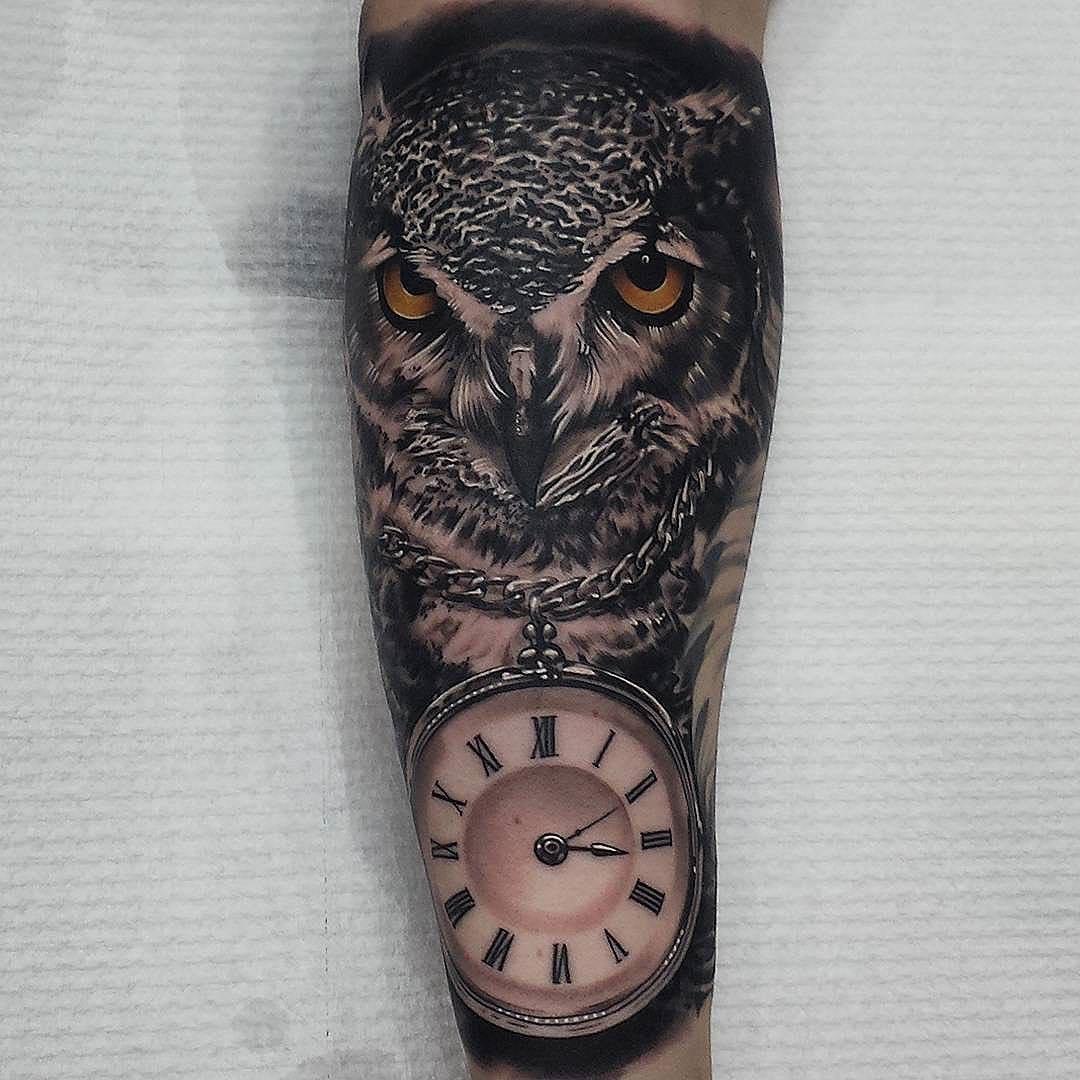 Clock on Chain Owl Tattoo on Forearm Tattoo