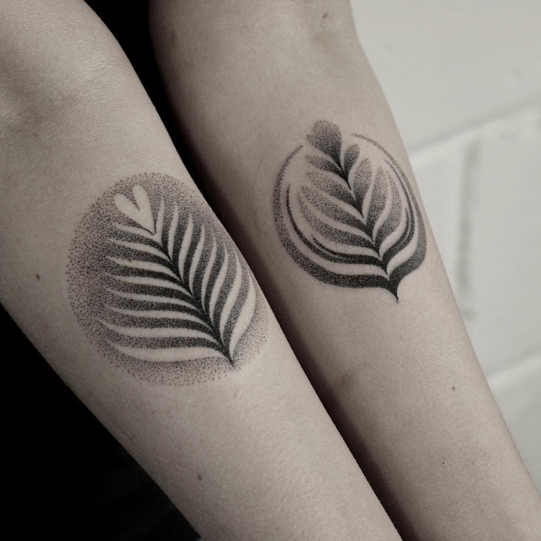 Contrast Leaf Tattoos on Shins