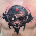 Cool Music Cat Tattoo on Chest