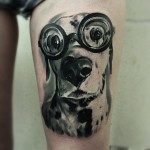 Cute Dog Tattoo on Thigh
