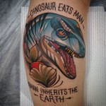 Dinosaur Tattoo on Calf