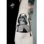 Dotwork Darth Vader Tattoo on Arm