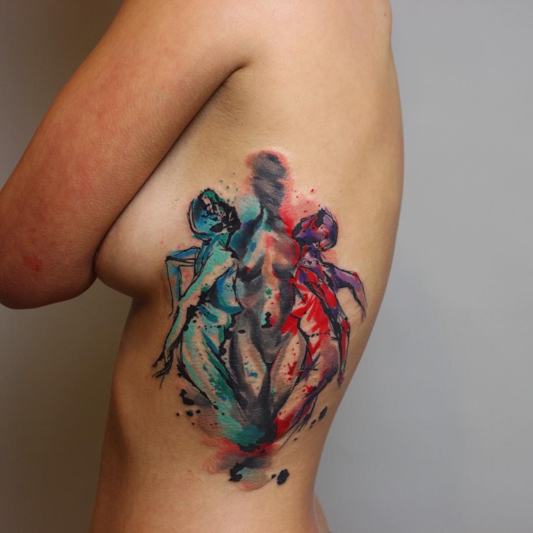 Dual personality tattoo best tattoo ideas gallery for What is a watercolor tattoo