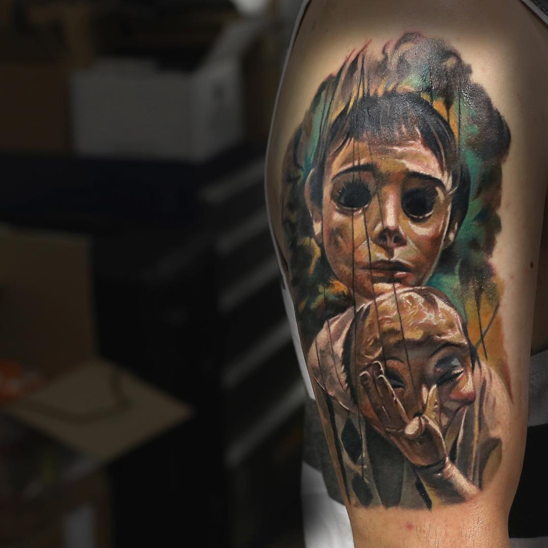 Empty Eyes Under Mask Tattoo