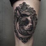 Framed Dog Tattoo on Thigh