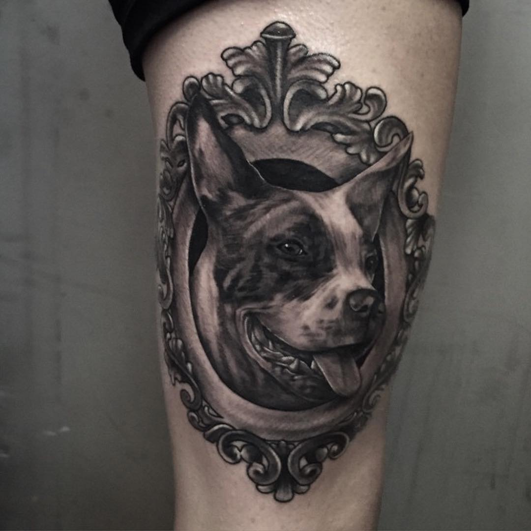 Framed Dog Tattoo on Thigh | Best Tattoo Ideas Gallery