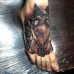 Frankenweenie Sparky Dog Tattoo on Foot
