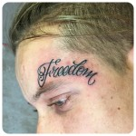 Freedom Lettering Tattoo on Face