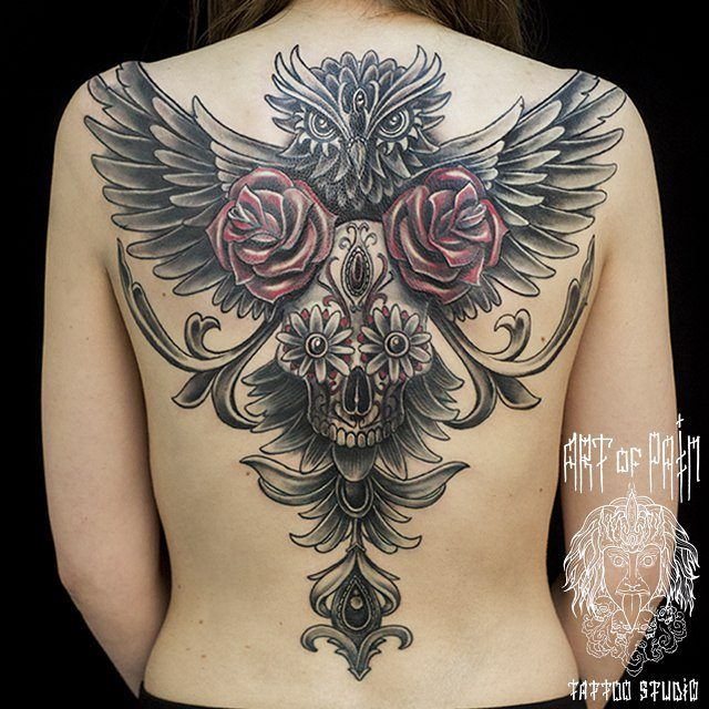 Full Back Owl Roses Skull Tattoo