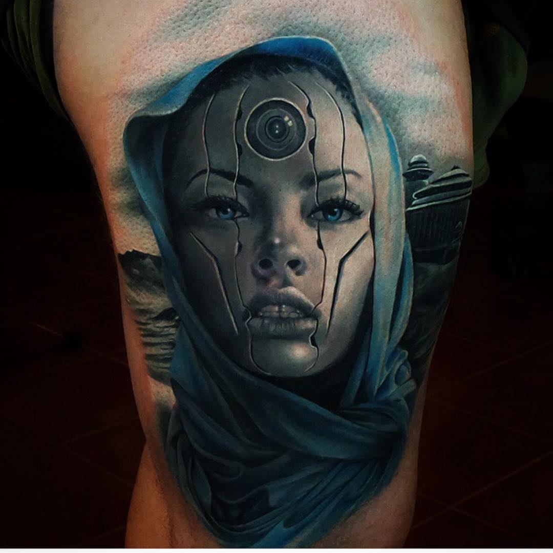 Futuristic Girl Tattoo on Thigh