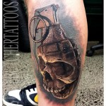 Grenade Skull Tattoo on Calf