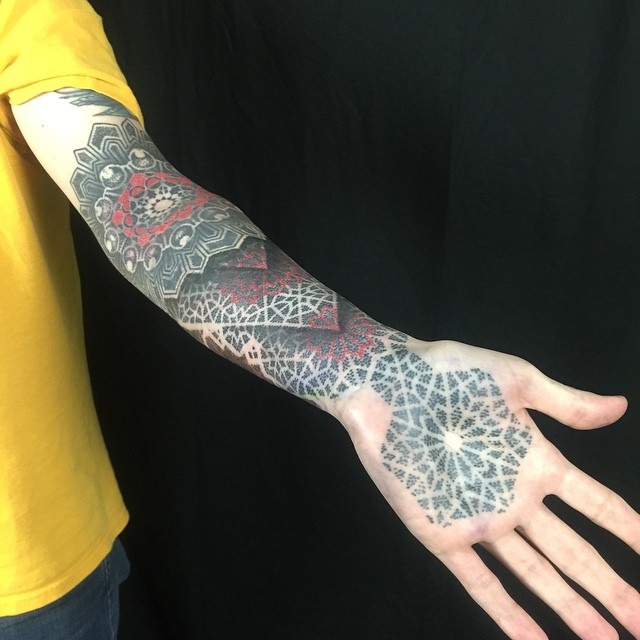 Hand and Half Sleeve Dotwork Tattoo