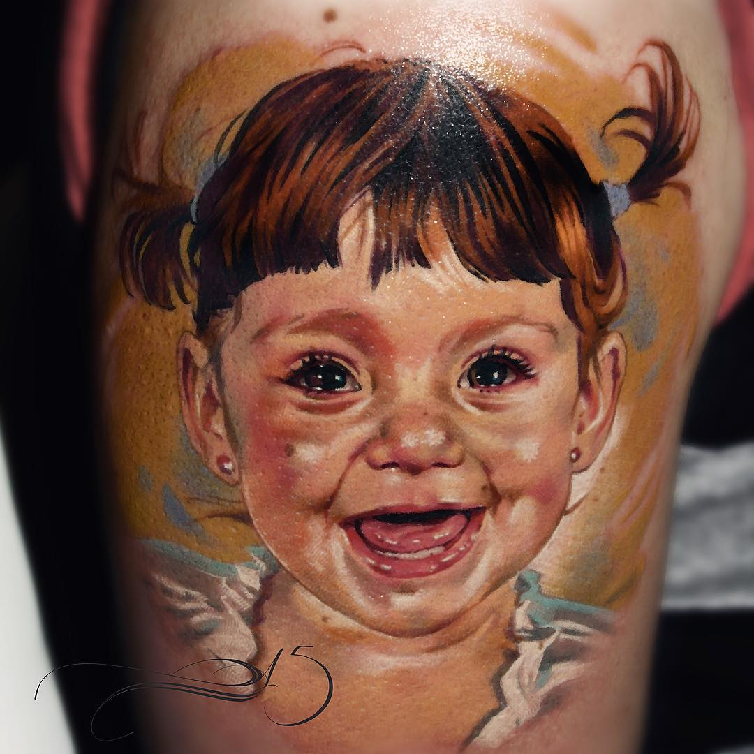 Happy Baby Girl Tattoo