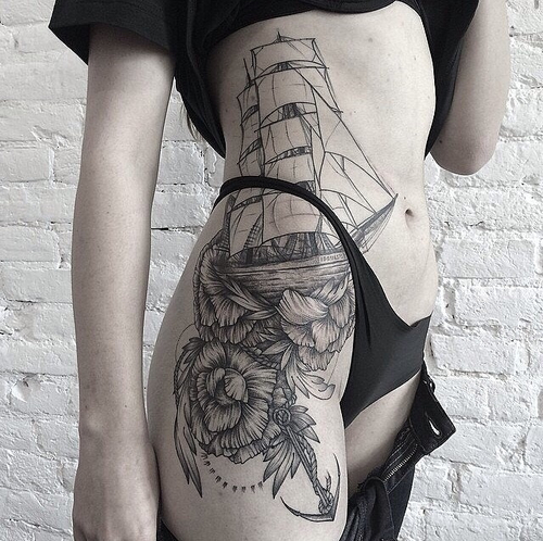 Hip Ship Tattoo