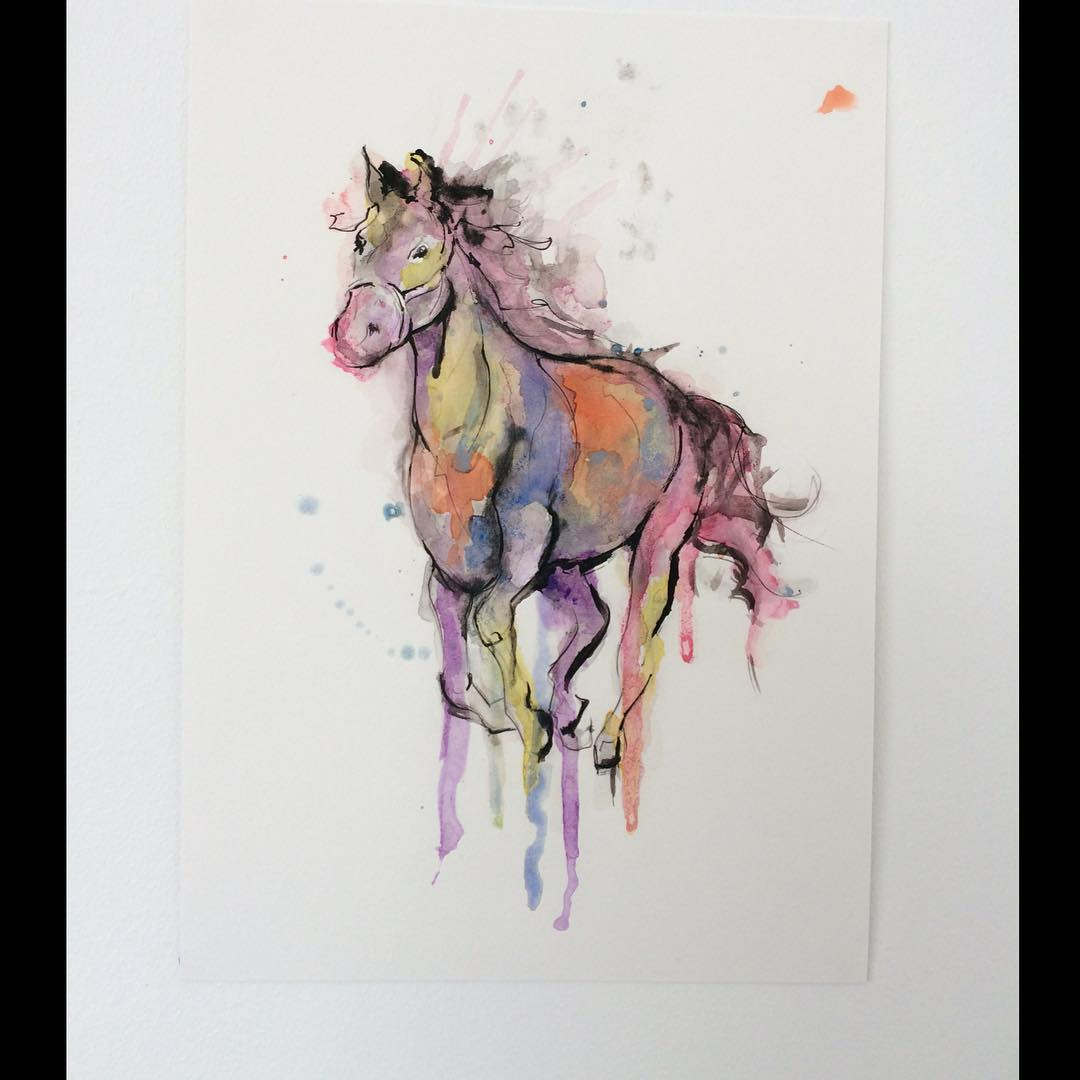 Horse Watercolor Tattoo Design