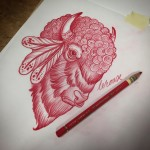 Indian Bison Tattoo Design