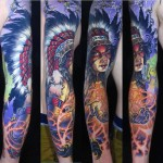 Indian Shaman Girl Tattoo Sleeve