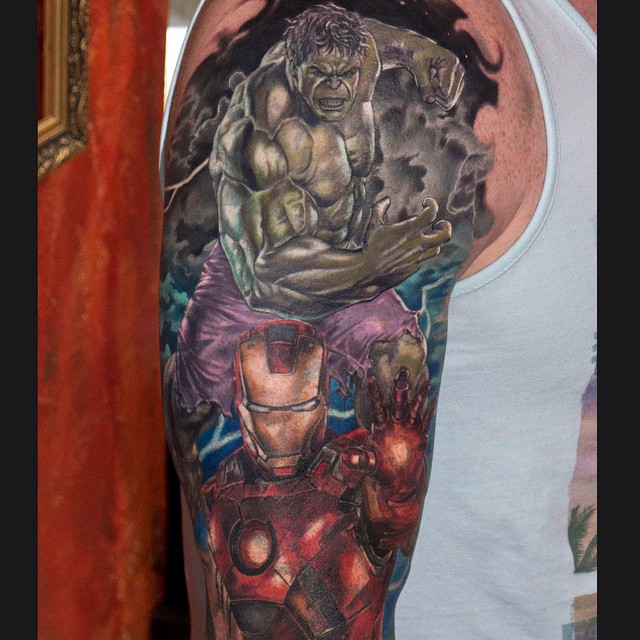 Iron Man and Hulk Shoulder Tattoo