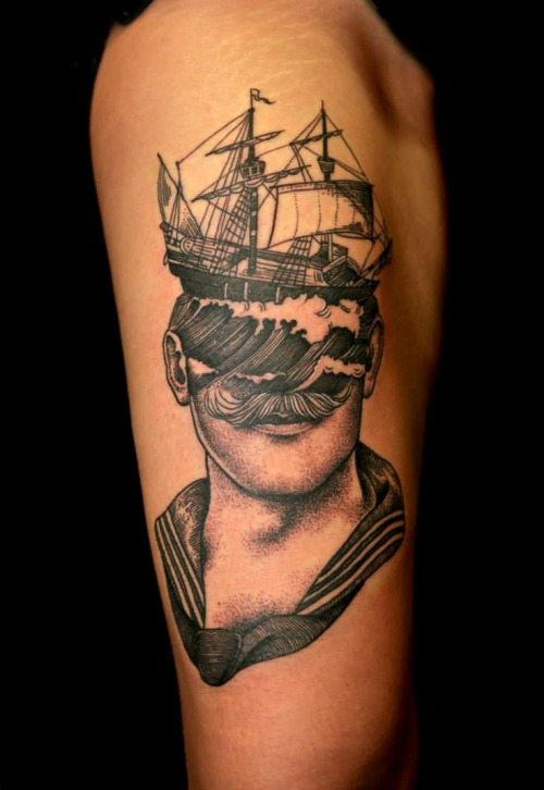 Man Head Ship Tattoo