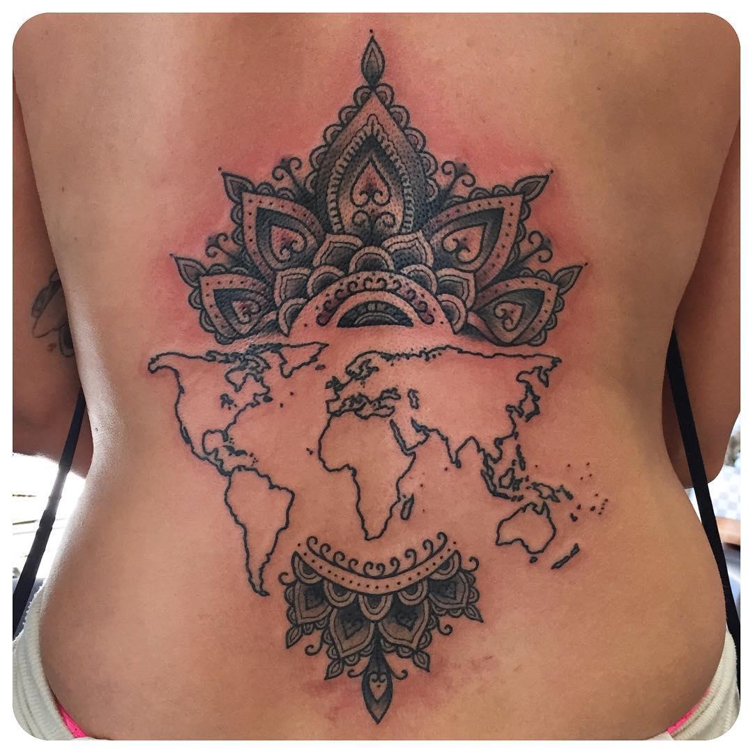 Mandala World Map Tattoo