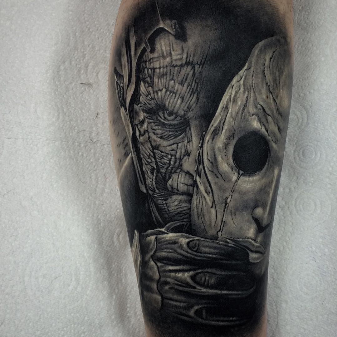 Monster Face Mask Tattoo