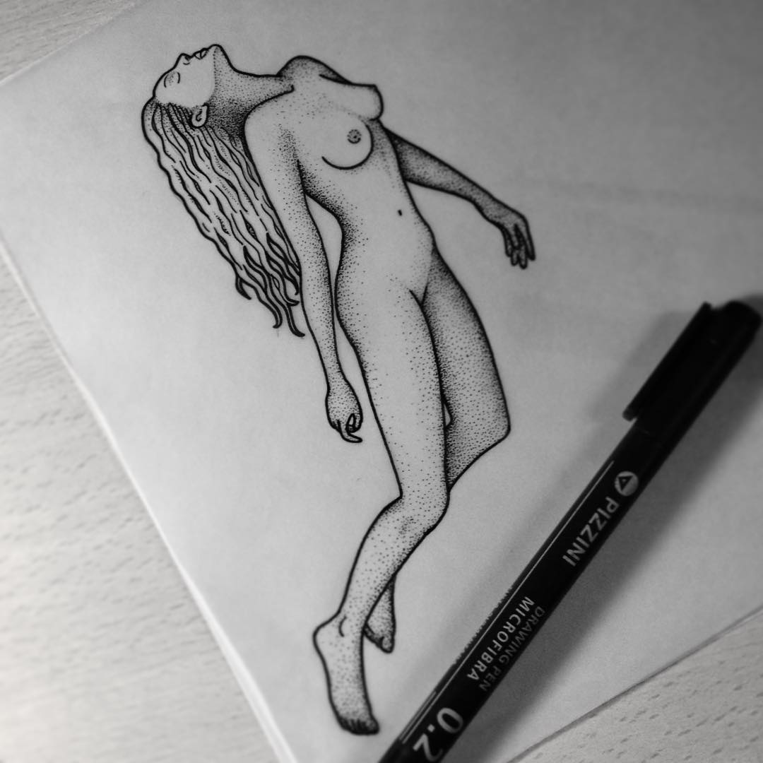 Girl Tattoo Design Dotwork